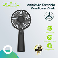 Oraimo Kipas Angin Portable / Mini Hand Fan 2000mAh Power Bank OHF-N01