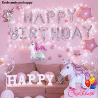 Paket set balon unicorn 3D pink hbd ulang tahun birthday LED dekorasi