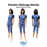 Set baju olahraga senam aerobik wanita terbaru jumbo motif bunga