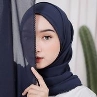Jilbab Kerudung Hijab Pashmina Renda Picot Crochet Embroidery Ceruty