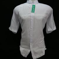 Jual Baju Koko Lengan Pendek Putih Bordir Senada Seragam Hadroh Murah