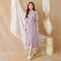 Pleated Button Plisket midi dress(busui friendly)
