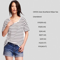 OLD NAVY 35 Linen Boyfriend Stripe Tee baju Atasan Kaos Wanita Branded