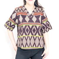 Blouse batik wanita size 3L jumbo bigsize lengan pendek katun strecth
