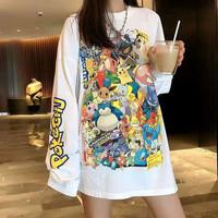 T Shirt Wanita Baju Kaos Longgar Tangan Panjang Pokemon Pikachu