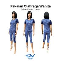Set baju olahraga senam aerobik wanita terbaru jumbo motif bunga - S
