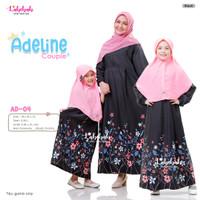 AD-04 Baju Muslim Gamis Couple Ibu Anak Adeline Black Pink