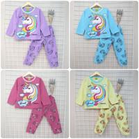 Setelan Baju Celana Panjang Anak Unicorn 2-8 Tahun