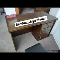 Meja Kantor / Kerja 1/2 Biro Full Solid Wood 2 Laci uk. 120cm