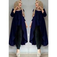 Baju Atasan Muslim Wanita Tunik Viane Polos Wolly Creepe Best Quality - Navy