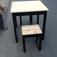 meja kafe cat kaki hitam 1 set 1 meja 2 bangku