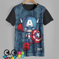 kaos anak super hero baju anak super hero - captain america, 1-2 tahun