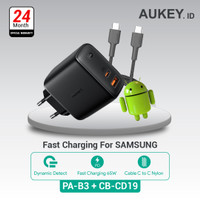 Aukey Charger PA-B3 + Aukey Cable CB-CD19 Black