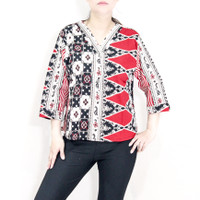 Blouse batik wanita bigsize jumbo fit 4L lengan panjang katun strecth
