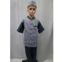 Jual Setelan Baju Koko Anak Laki - laki Lengan Pendek Paud SD SMP Baru - Biru, 4-5 tahun