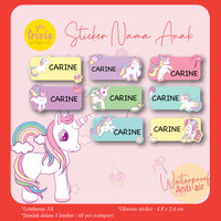 Sticker Label Nama anak Unicorn
