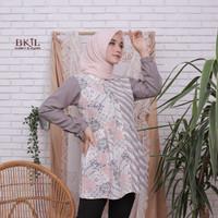 Tunik Batik Kekinian Kombinasi Atasan Wanita Baju Kantor Tunik Blus