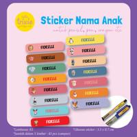 Sticker Label Nama Anak pensil pen crayon emoji 1