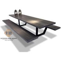 kursi meja taman panjang kaki besi clasic mewah nyaman dan simpel KT04