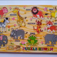 Mainan Edukasi Kayu Puzzle Aneka Hewan - Mainan Kayu Murah ber SNI
