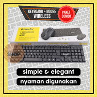Keyboard Mouse Wireless Combo Banda W500 Paket 1 set