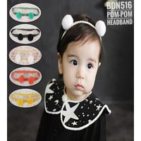 HB04-bandana pom pom bola bayi anak balita bando headband PEREMPUAN