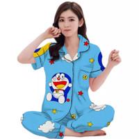 Baju Tidur Piyama CP Dewasa motif Doraemon Star - Biru, all size