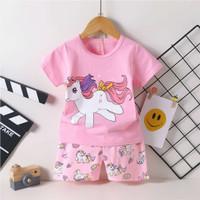 Piyama import Baju tidur anak perempuan motif unicorn umur 3 - 5 tahun
