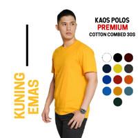 kaos polos cotton combed 30s Premium warna Kuning Emas