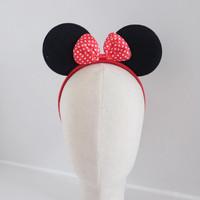 Mickey Ears Ribbon Headband - Bando Fashion Bando Kuping Mickey Import