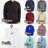 Kemeja Polos Hem Lengan Panjang Hitam Putih Merah Biru Navy Abu - Marun Misty, M