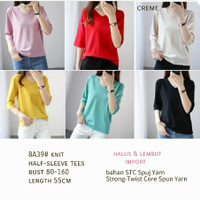 S1 Knit Half Sleeve Tees Import Baju Fashion Wanita Premium Blouse