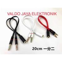 Kabel Aux Spliter 3.5mm Kabel Aux Female to 2 Male Audio Mic Spliter