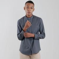 Edwin Jeans Linen Style Long Shirt Dexon Dark Grey