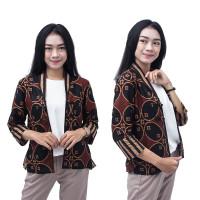 Bolero Batik Wanita Blouse - Semi Blazer Batik Kekinian Lengan 7/8 - S
