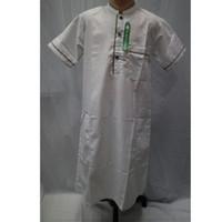 Baju Koko Jubah Gamis Muslim Anak Laki - laki Lengan Pendek Putih - Putih, 4-5 tahun