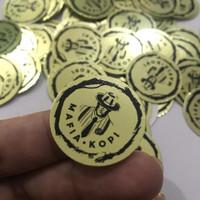 Cetak Stiker / Label Bahan Metalik / Gold Ukuran A3 Plus Cutting