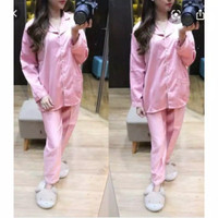 Baju Tidur Piyama Dewasa PP Satin Premium - pink, all size