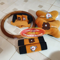 Paket Bantal 3 in 1 + Cover Stir / Sarung setir Mobil Line Brown Cony