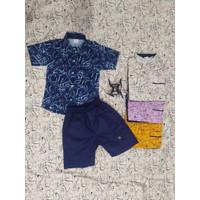 Setelan kemeja fashion anak laki laki motif abstrak warna lingkaran