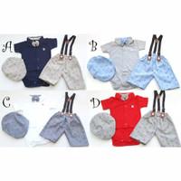 Jumper bayi laki-laki set celana topi dasi suspender baju kondangan