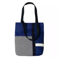 Tote Bag Salur Stripe Bahan Kanvas Wanita / Tas Selempang Pundak - Hitam