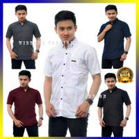 Baju Kemeja Pria Lengan Pendek Hem Cowok Premium Polos Hitam Putih Abu