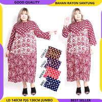 PROMO DISKON - Gamis Daster Jumbo Longdress Baju Tidur Bahan Adem - Merah