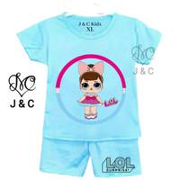 SM Kids Baju Stelan Anak Perempuan LoL ST002 Ukuran 0-5 Tahun - Biru, Ukuran S