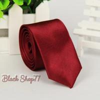 Dasi Pria Dasi Panjang Dasi Satin Polos Merah Maroon 3 Inchi