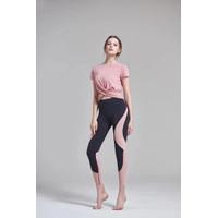 Satu set baju senam yoga pink & legging olahraga yoga pant hitam lis