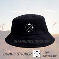 Topi outdoor topi baket gunung bahan DRILL canvas 100%bonus sticker