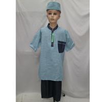 Grosir Setelan Baju Koko Pakistan Turki Anak Lengan Pendek Murah - Biru Muda, 3-4 tahun