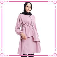 Baju Atasan Wanita Tunik Muslim MOSCREPE Pink